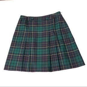 Pendleton Petite Green Plaid Wool Pleated Skirt